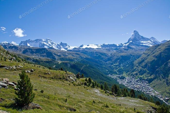 Zermatt with Matterhorn, Castor and Pollux