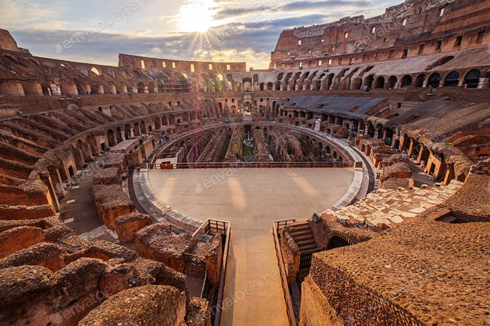 Scenic view of Roman Colosseum interior at sunset