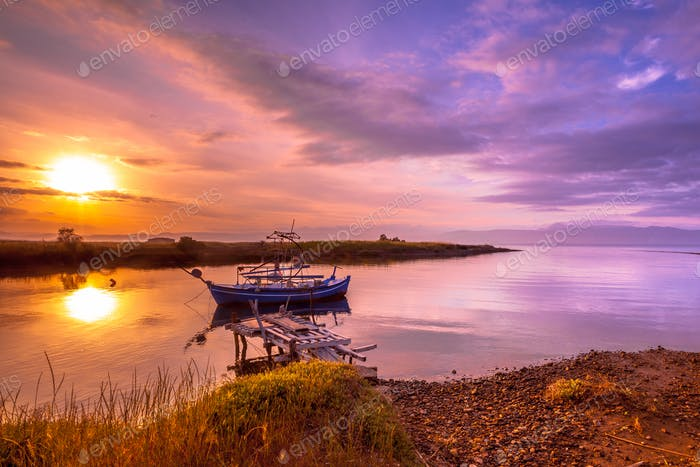Fishing boat Lesvos at sunrise