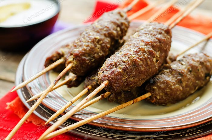 kebab skewers. meat cutlets