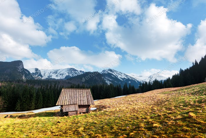 Old wooden hut in spring High Tatras mountains