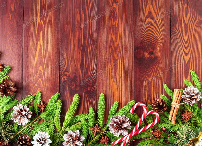 Christmas and Happy New Year dark brown background. Top view, copy space, wooden rustic