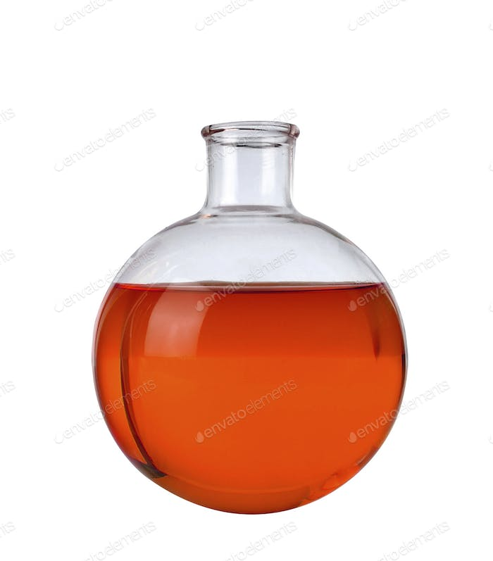 Chemical laboratory flask with red liquid isolated