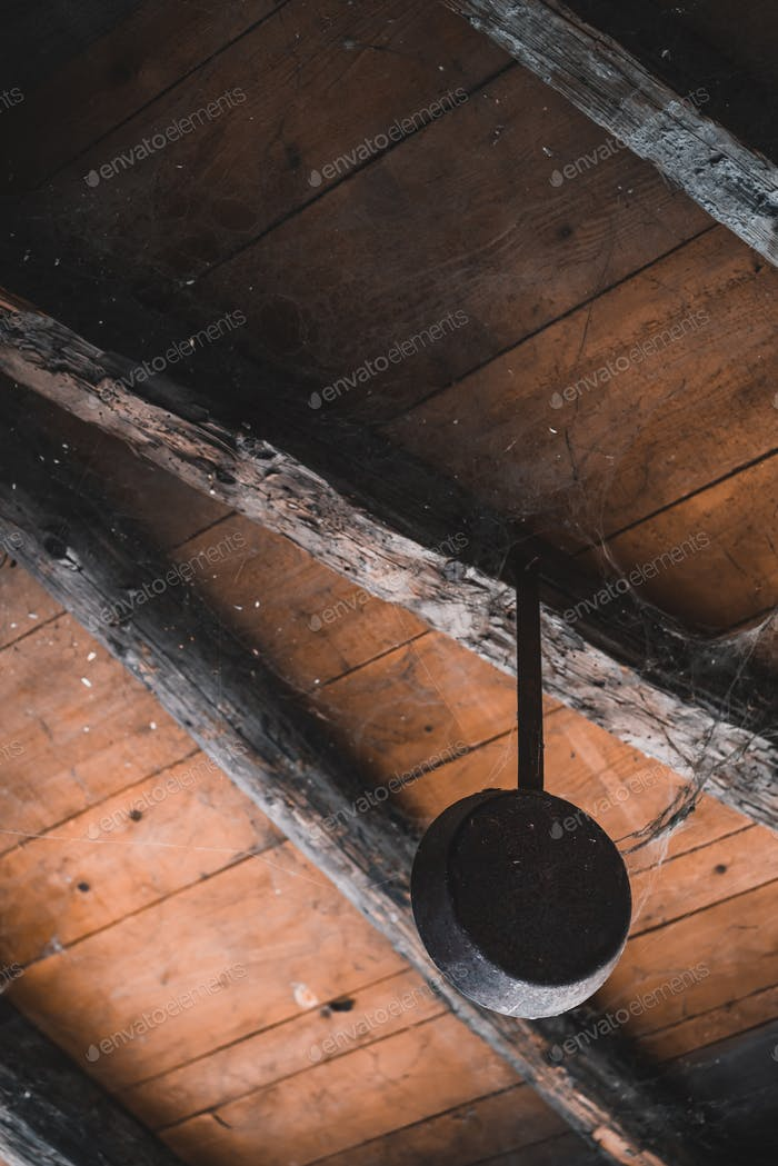 Old frying pan hanging in a shed
