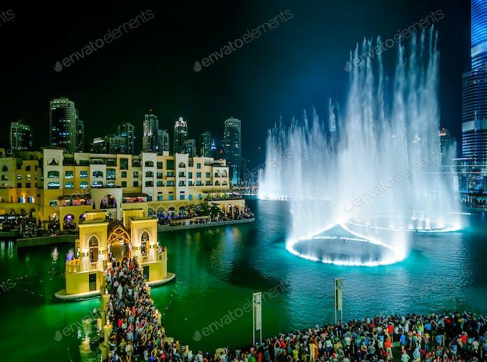 DUBAI, UAE - APR 14, 2013: Dubai fountain view near Burj Khalifa, Dubai, United Arab Emirates