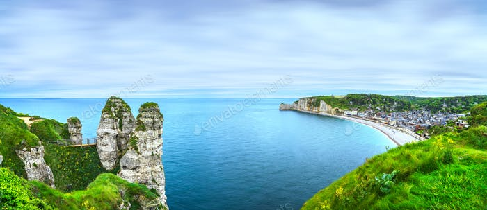 Etretat village and bay beach. Aerial view from the cliff. Norma