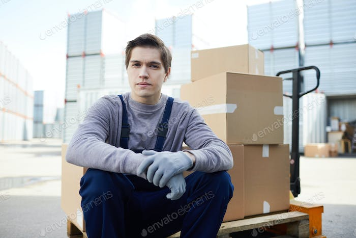 Young mover at cargo container area