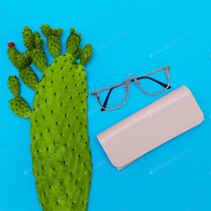 Fashion Glasses. Stylish Eyewear accessory. Flat lay Minimal Sto