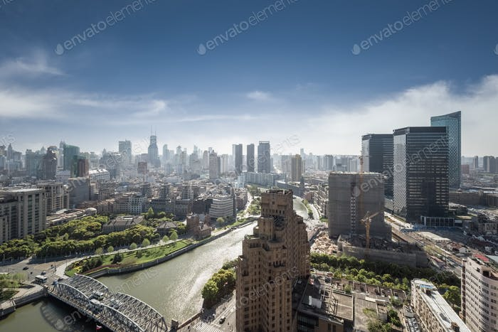 shanghai cityscape, high angle view