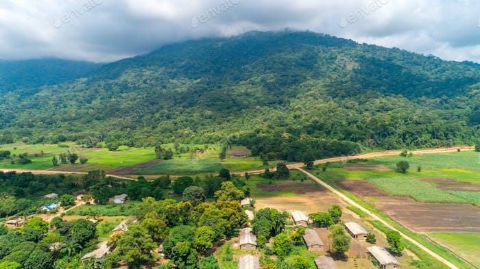 Aerial view of endless lush pastures and farmlands of morogoro town, Tanzania
