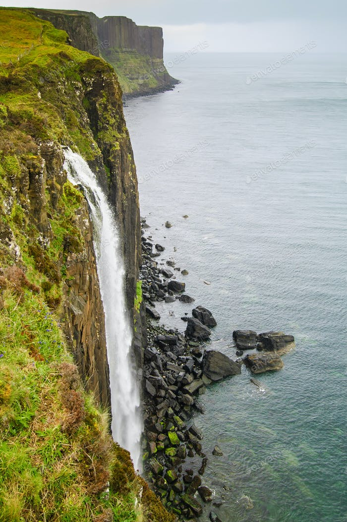 Kilt Rock Waterfall seascape, Isle of Skye, Scotland