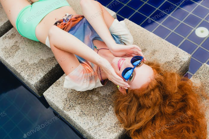 young hipster ginger slim woman