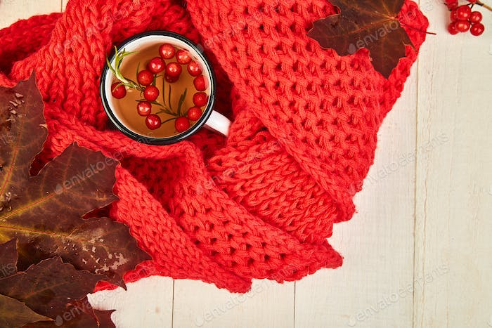 Mug of hot viburnum tea with red warm knitted scarf