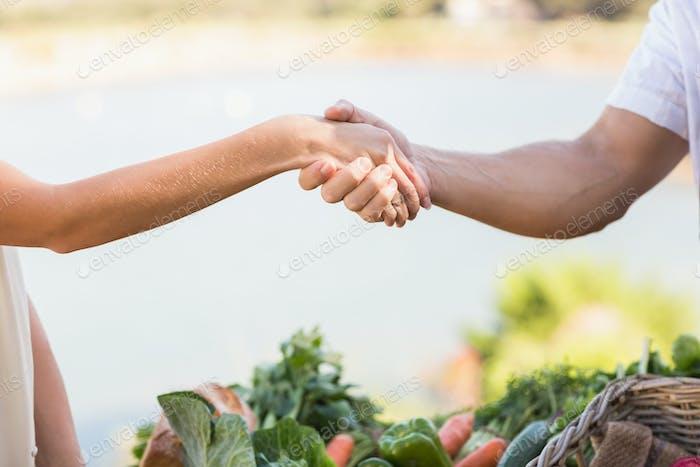 Nahaufnahme Ansicht eines Bauern und Kunden Hände schütteln
