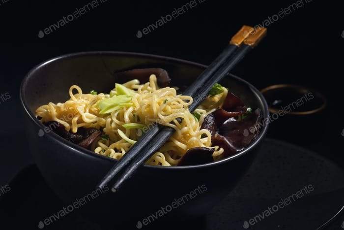 Freshly cooked noodles
