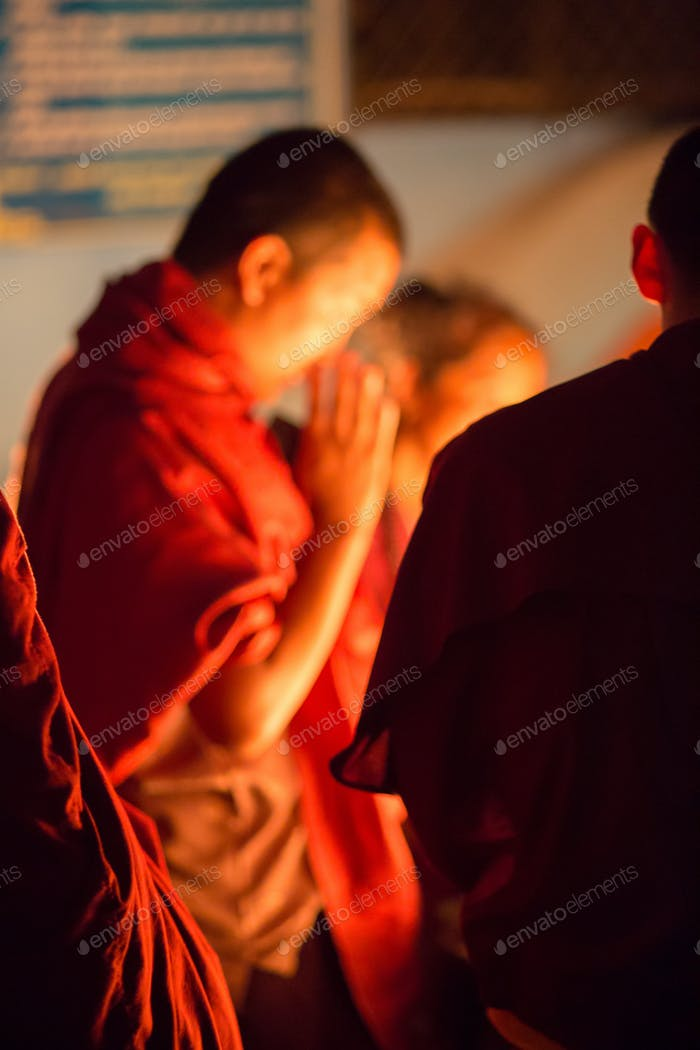 Group of monks praying in Kathmandu