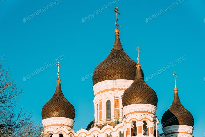 Tallinn, Estonia. Domes Of Alexander Nevsky Cathedral Is Orthodo