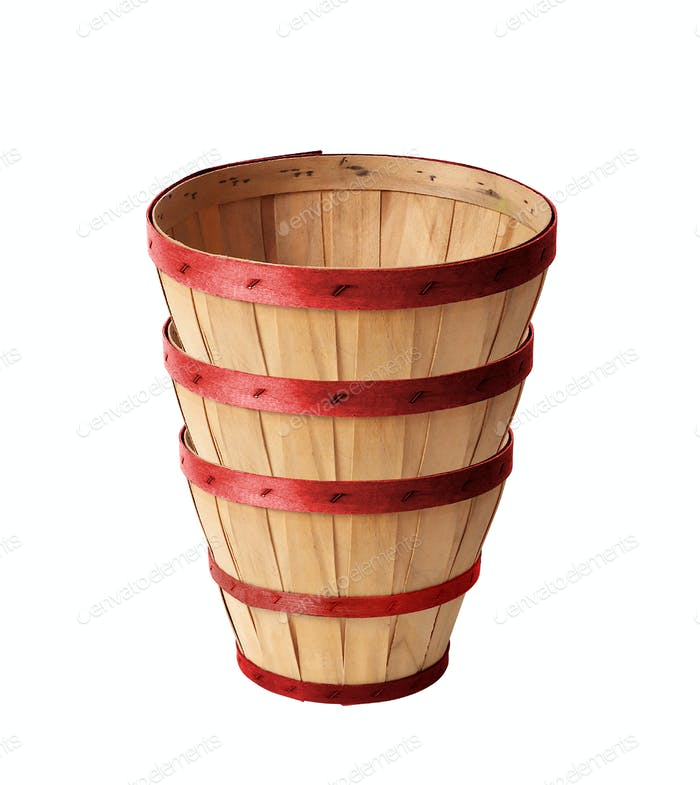 Wooden wattled basket isolated