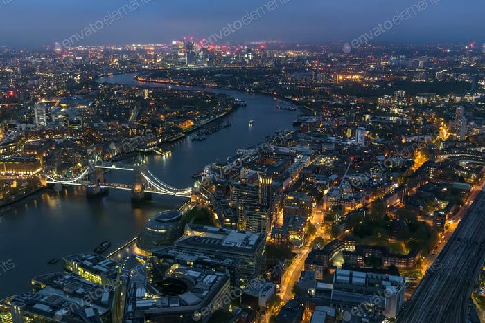Aerial view of river Thames in London at night