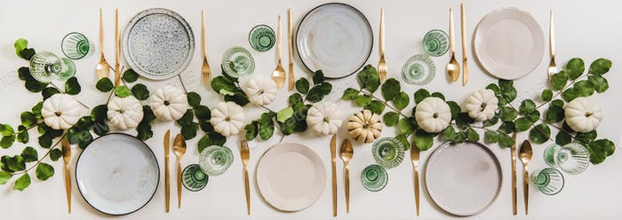Minimalistic Fall table setting for celebration Thanksgiving or Friendsgiving day