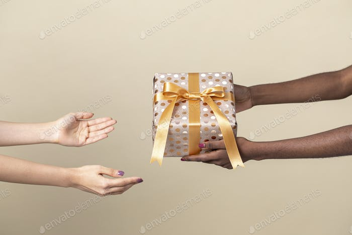 Friend giving a present