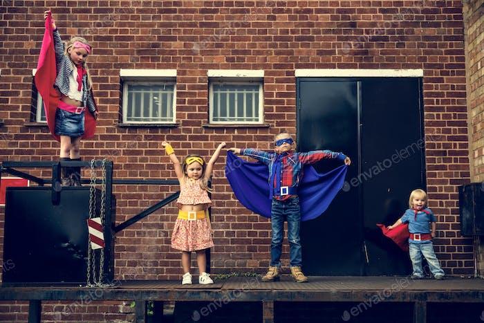 Superheroes Kids Friends Brave Adorable Concept