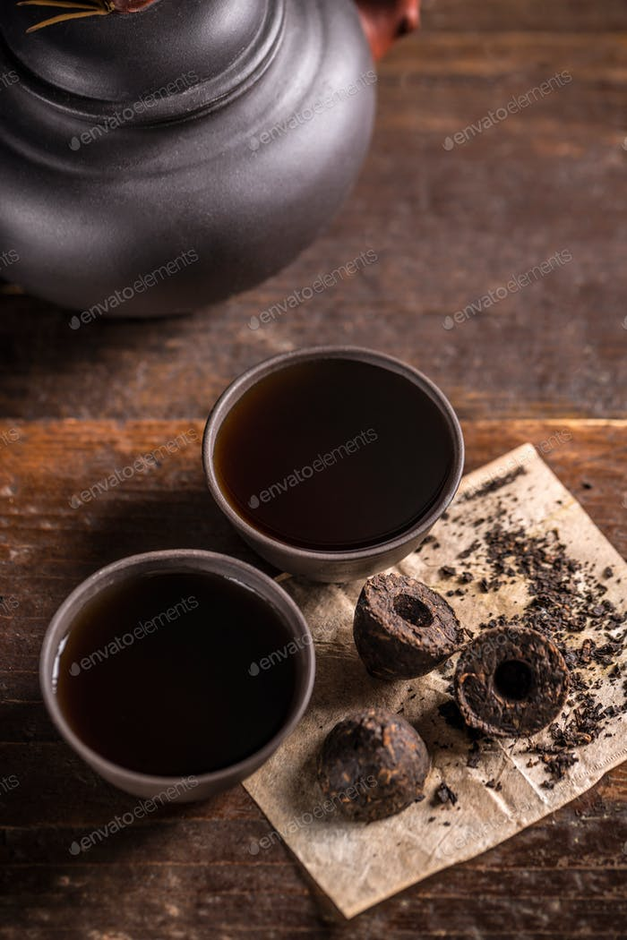 Cups of black tea