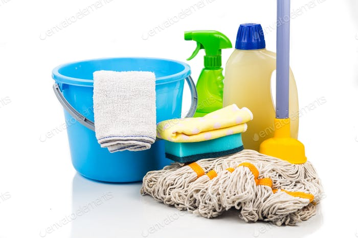 Home cleaning tool set of detergent, mop, sponge, spray, towel a
