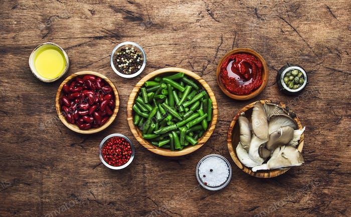 ingredients for preparation vegan dishes