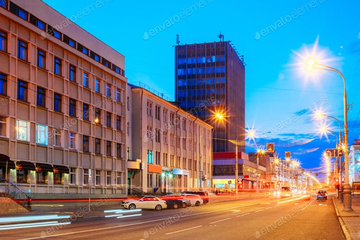 Gomel, Belarus. Traffic And Light Trails On Lenin Avenue In Evei