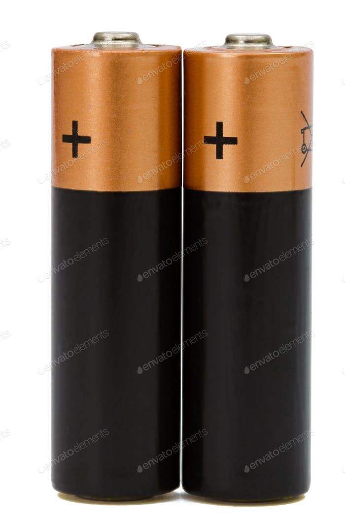 Two AA battery isolated on white, with clipping path