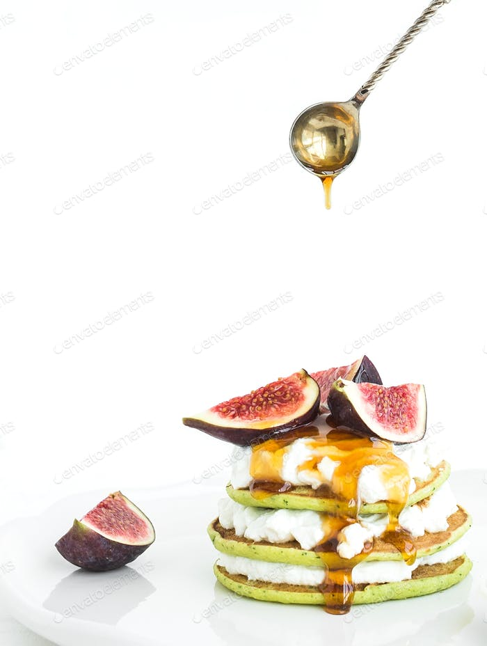 Marrow pancakes with fresh figs, honey and soft cheese