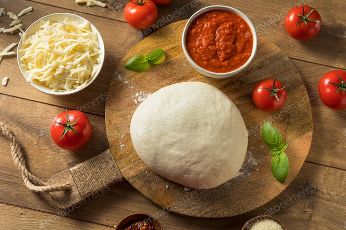 Homemade PIzza Dough and Ingredients
