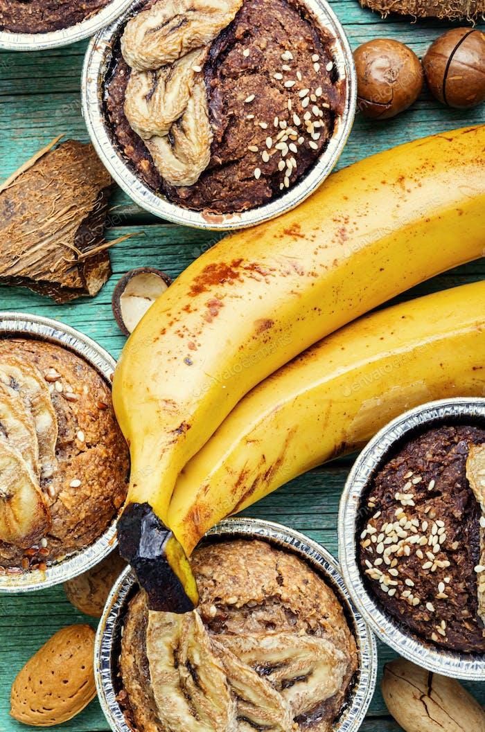 Muffins with banana.