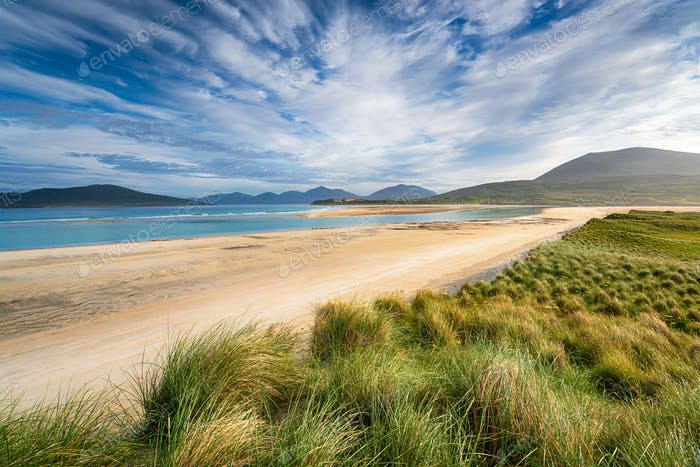 The long sandy beach at Seilebost on the Isle of Harris