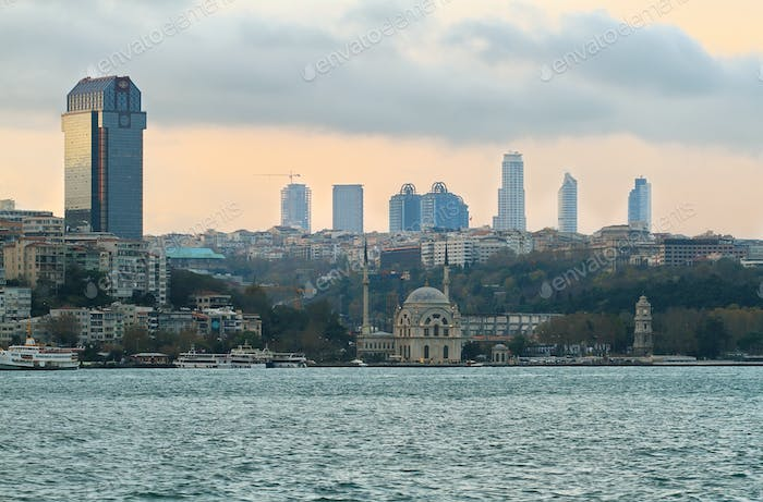 Istanbul skyline at evening