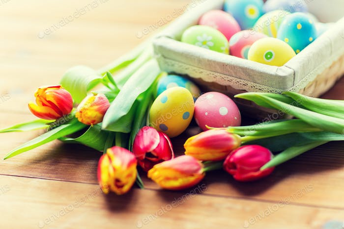 close up of colored easter eggs and flowers