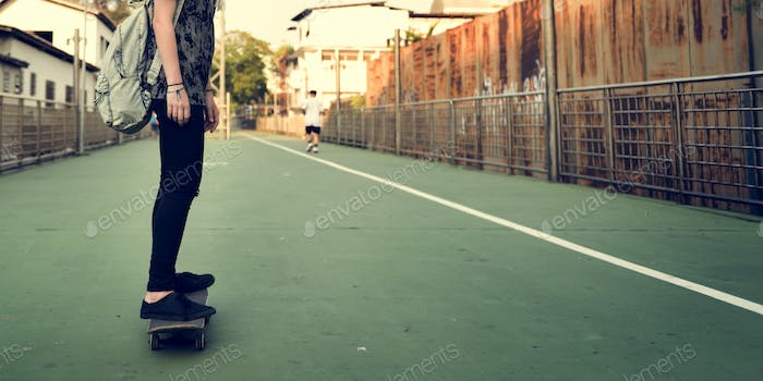 Woman Playing Skateboard Extreme Sport Concept