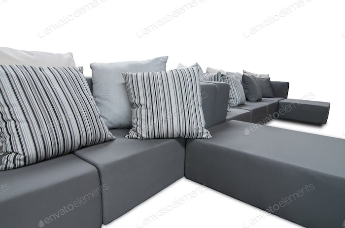 Outdoor Indoor Sofa, Grey Color with Cushions and Pillows