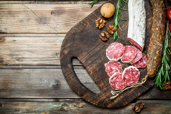 Salami with herbs and spices.