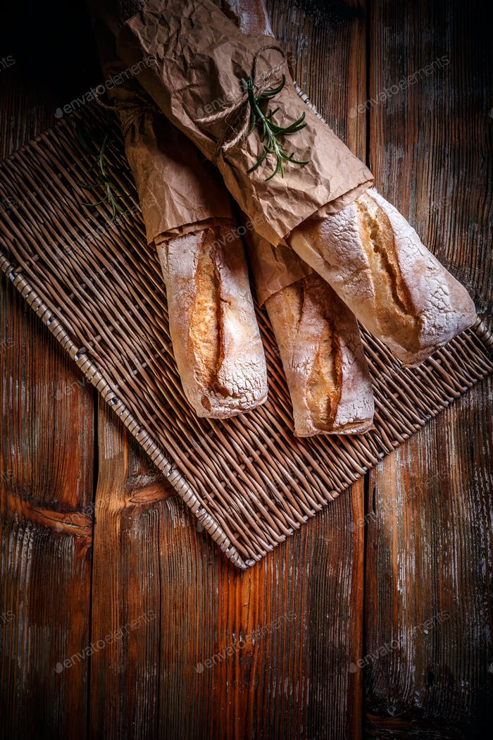 Freshly baked French bagettes