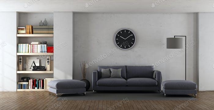 Modern living room with purple sofa