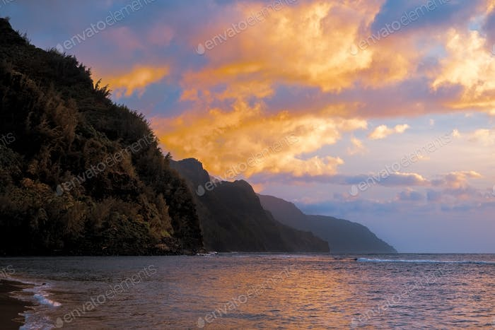 Colorful sunset landscape view of rugged coastline on Kauai, Hawaii