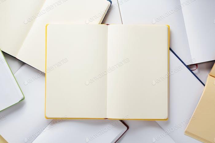 offenes Notizbuch oder Buch leere Seiten