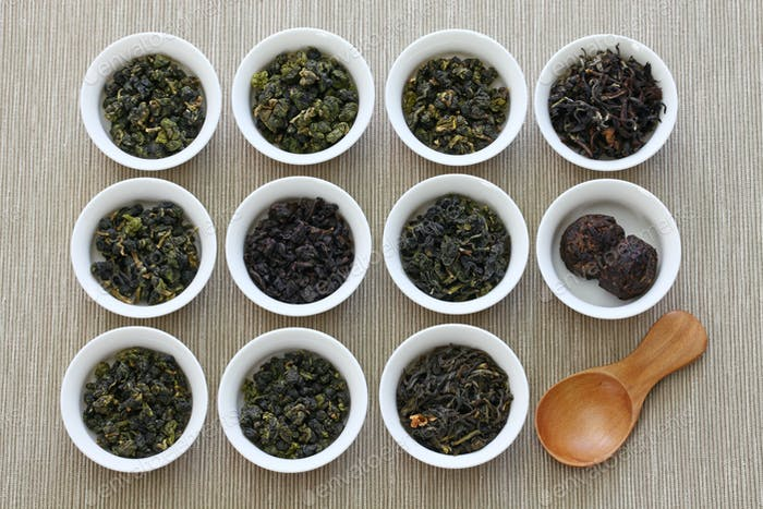 taiwanese tea assortment : oolong tea, iron goddess tea, pu-erh tea