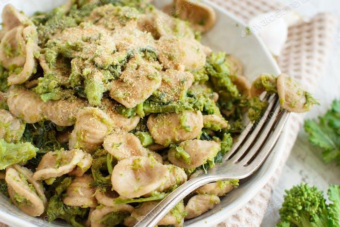Orecchiette pasta with turnip greens