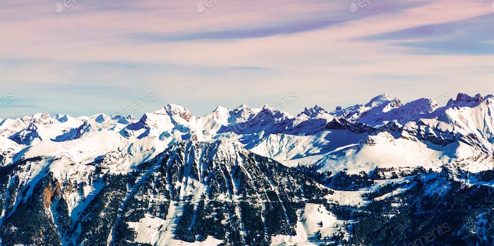 Winter mountains landscape. Sunrise landscape of winter landscap