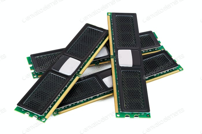 Modern computer memory modules with black radiator