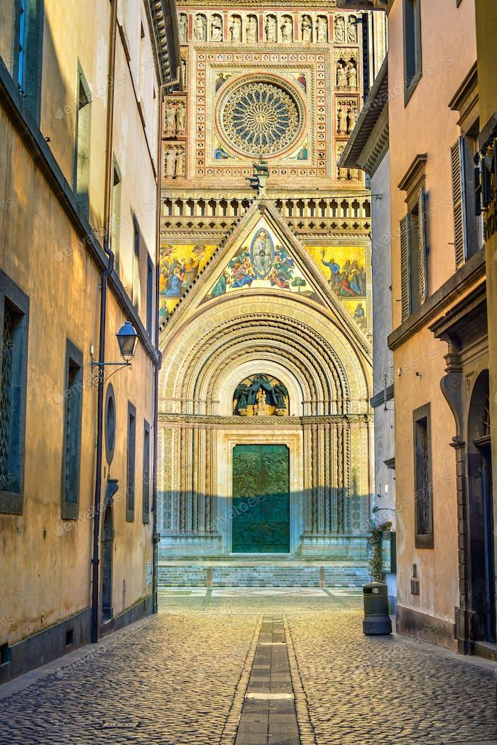 Orvieto medieval Duomo cathedral church facade. Italy
