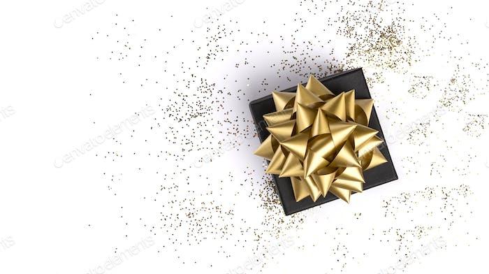 Geschenkbox auf festlichem weißem Hintergrund